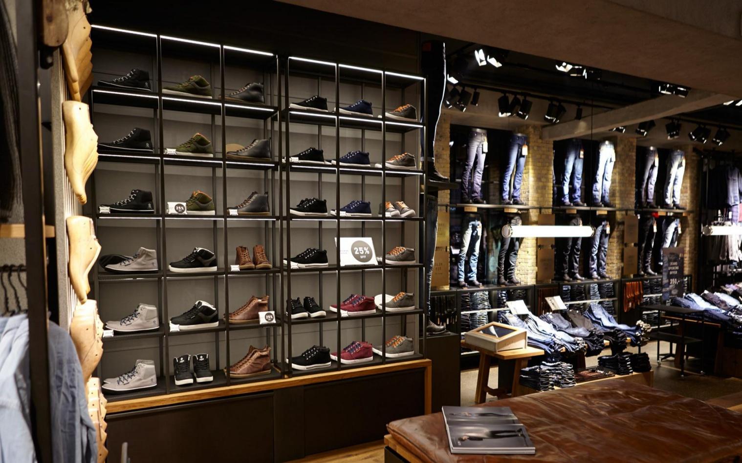 Мебель для магазина мужской одежды и обуви