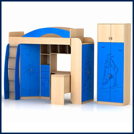 Мебель в детскую: кровати, шкафы, комоды, полки, рабочие уголки